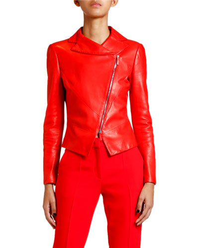 Leather Asymmetric-Zip Skirt