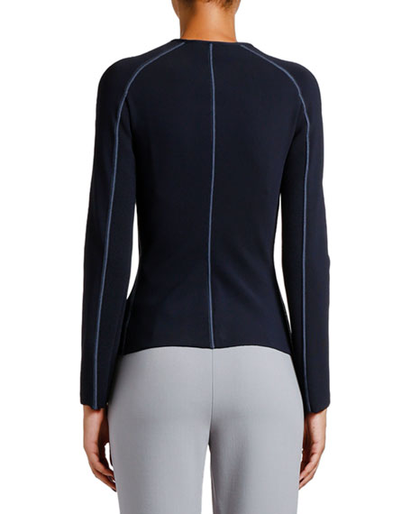 Ottoman Ribbed Zip-Front Jacket