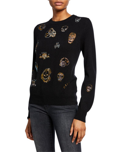 Be True to Your Skull Sequined Crewneck Cashmere Sweater