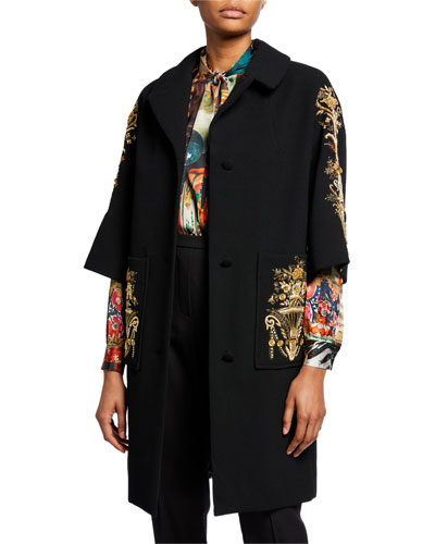Versailles Embroidered Patch Pocket Wool Coat
