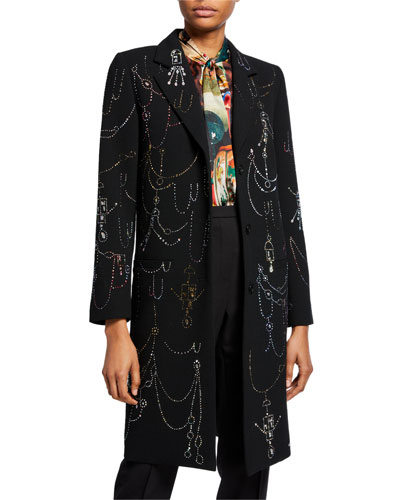 Victorian Swags Embellished Button-Front Wool Coat