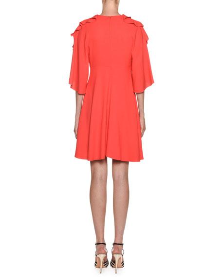 Crepe Flutter-Sleeve Ruffled Neck Dress