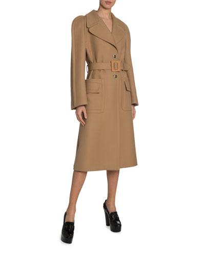 Wool Seamed-Sleeve Utility Pocket Coat