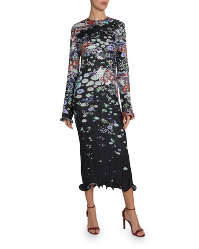 Floral Plisse Ruffled Dress