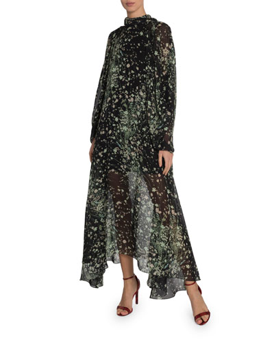 Floral-Print High-Neck Maxi Dress