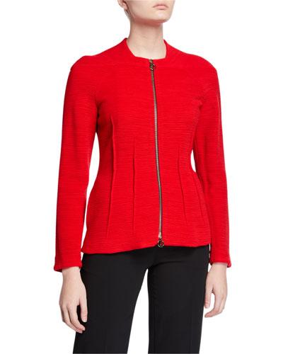 Desert Rose Ottoman Ribbed Zip-Front Jacket