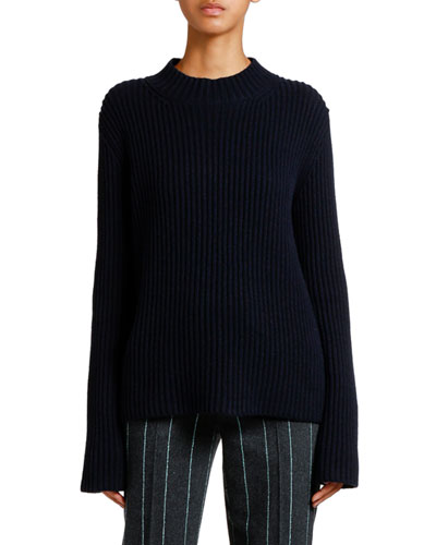 Mock-Neck Ribbed Cashmere Sweater