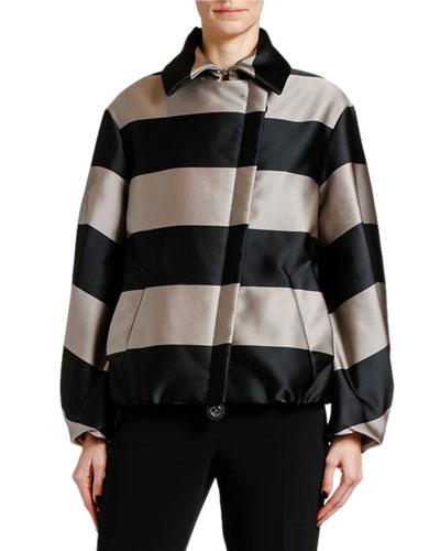 Striped Asymmetric Cashmere-Padded Short Coat