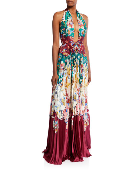 Halter-Neck Paisley Print Pleated Gown