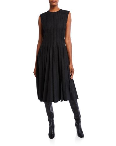 Pleated Wool-Crepe Midi Dress