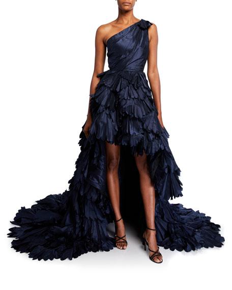 One-Shoulder Petal Silk Gown