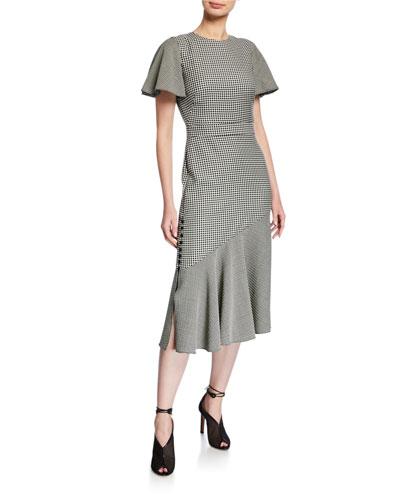 Victoria Gingham Flutter-Sleeve Dress