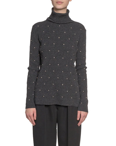 Embroidered Wool-Cashmere Turtleneck Sweater