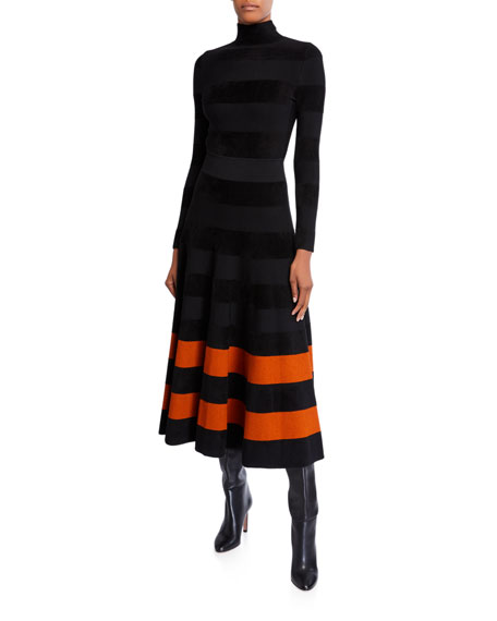 Jersey Turtleneck Striped-Hem Dress
