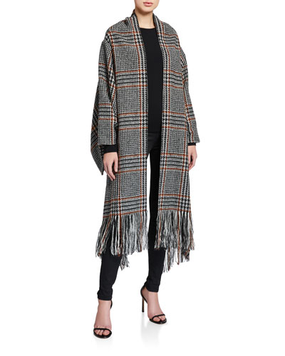 Plaid Fringe Scarf Coat