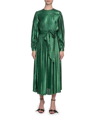 Pleated Lame Self-Tie Midi Dress