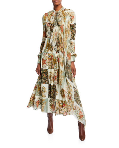 Floral Patchwork Silk Long-Sleeve Day Dress