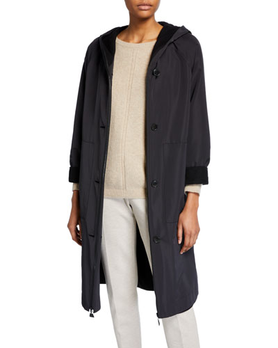 Hooded Button-Front Silk Techno Jacket