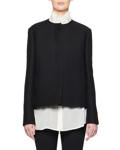 Raban Wool-Silk Covered Button-Front Jacket