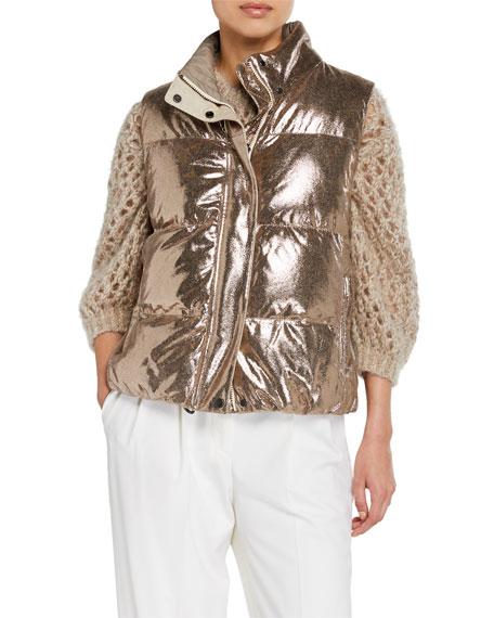 Metallic Leather Reversible Puffer Vest