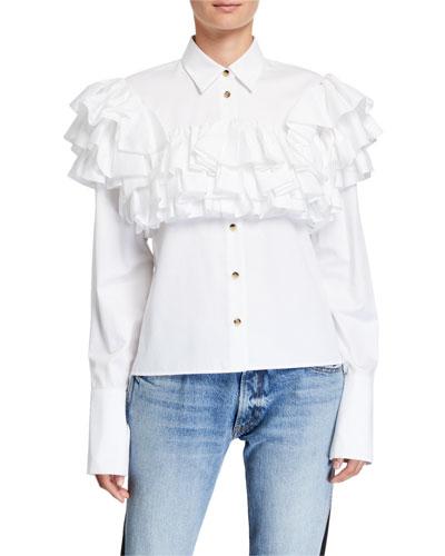 Virginie Ruffle-Tiered Yoke Shirt