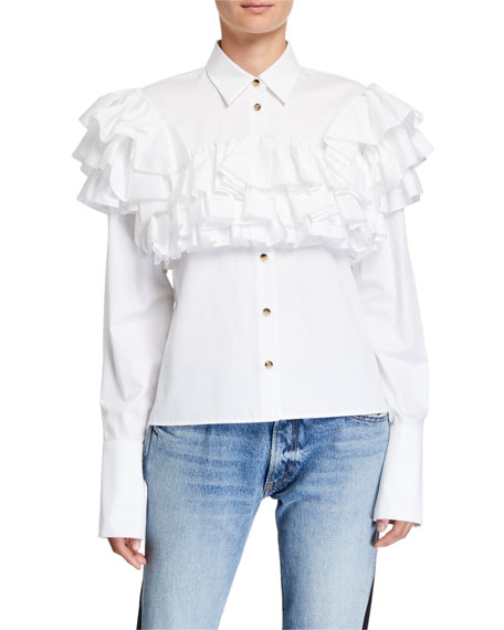Virginie Ruffle-Tiered Yoke Shirt