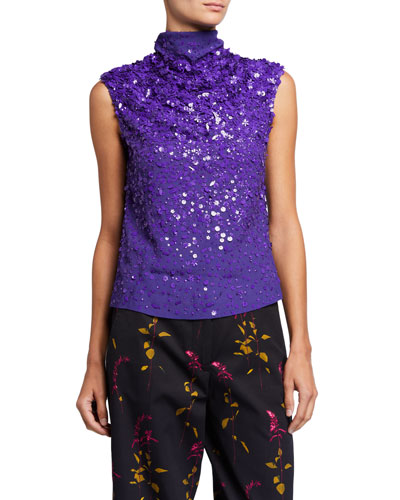Sequined Sleeveless High-Neck Top