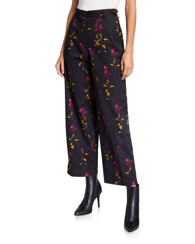 Floral-Print Cropped Pants
