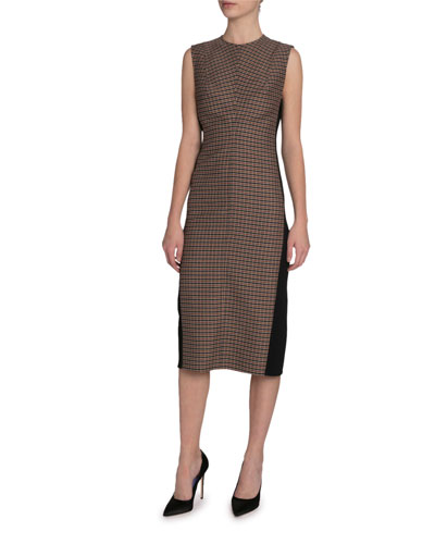 Checked Twill Sleeveless Midi Dress