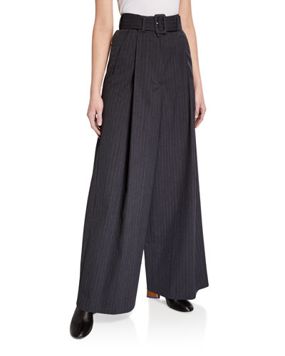 Pleated Wide-Leg Pinstriped Pants