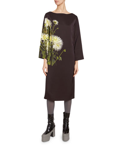 af03e7c1d7e9ca Floral Print Satin Long-Sleeve Dress Quick Look. Dries Van Noten