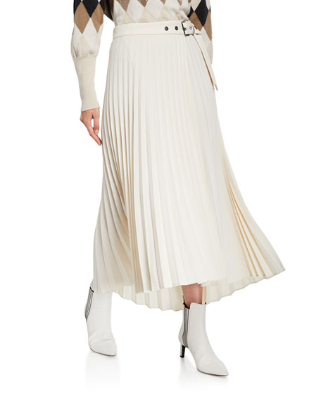 Grinnet-Belted Pleated Midi Skirt