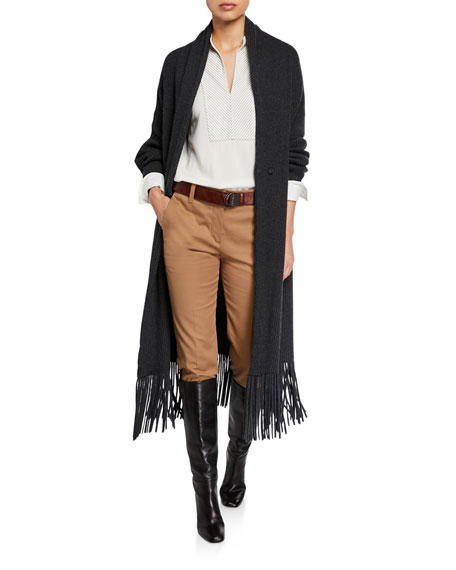 Cashmere Fringed Duster Cardigan