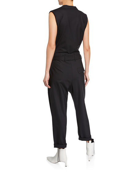 Monili-Beaded Wool Jumpsuit