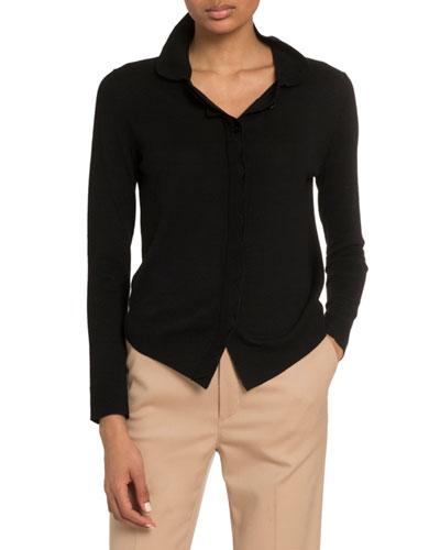 Wool Button-Front Shirt Sweater