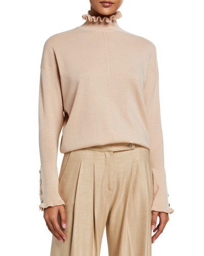 Cashmere Frill High-Neck Sweater