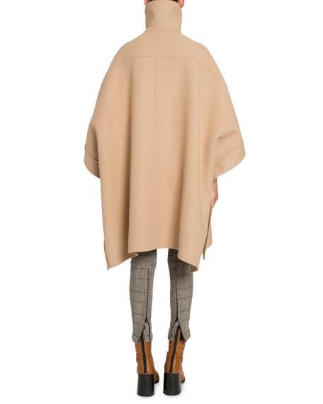 Wool-Cashmere High-Neck Cape Coat