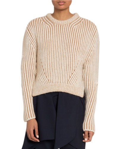 Wool Ribbed Crewneck Sweater