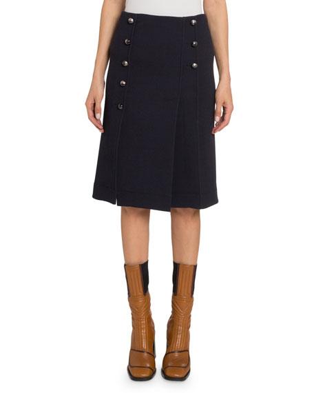 Button-Front Wool Knee-Length Skirt