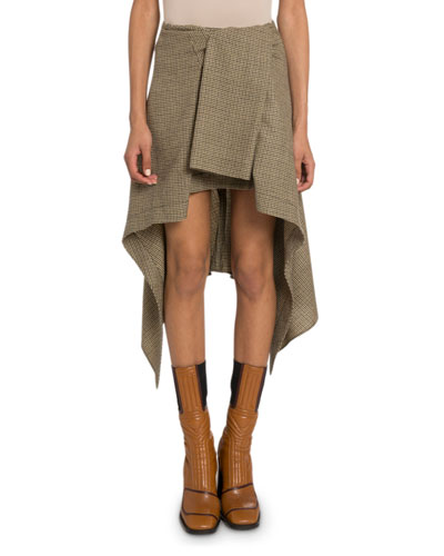 Plaid Wrapped Wool Asymmetric Skirt