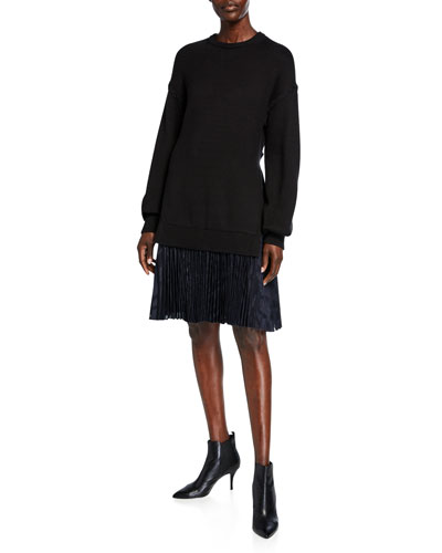 Sweater-Top Pleated Dress