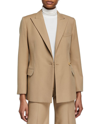 Cinched Wool-Blend Suit Jacket