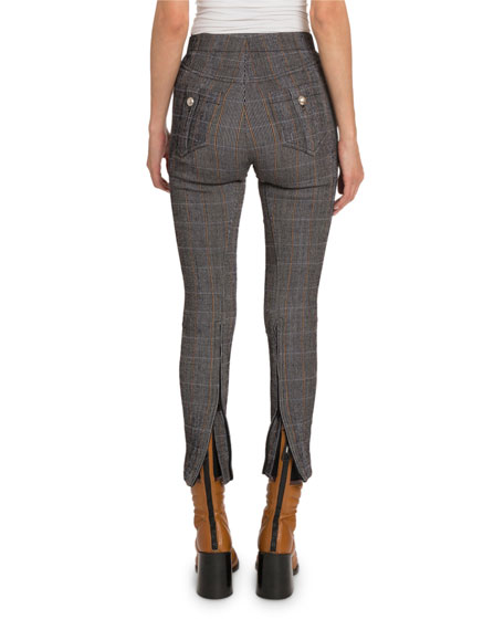 Plaid Wool High-Rise Cuffed Pants