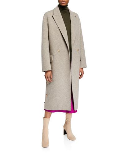 Cashmere Double-Face Button-Seam Coat