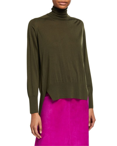 Oversized High-Low Wool Turtleneck Sweater