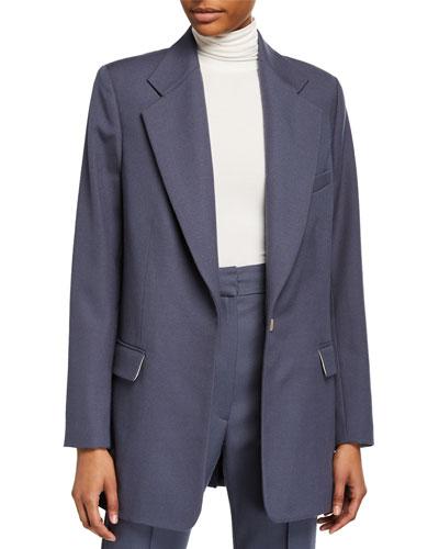 Wool-Blend Oversized Boxy Suit Jacket