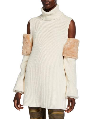 Faux-Fur Trimmed Cold-Shoulder Sweater