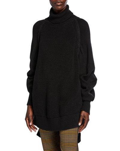 Side-Zip Turtleneck Sweater
