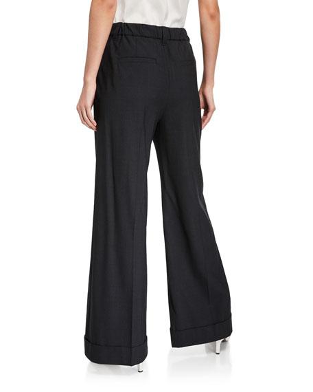 Tropical Wool-Twill Wide-Leg Trousers