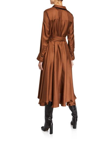 Silk Long-Sleeve Belted Shirtdress